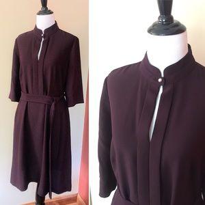 Hobbs London muted purple cutout work dress size 8